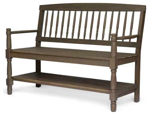 GDF Studio Eddie Indoor Farmhouse Acacia Wood Bench With Shelf, Gray Finish