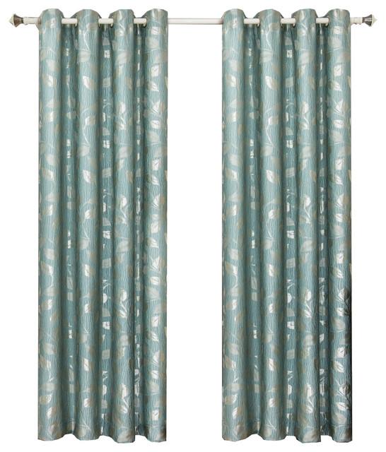 "Charlotte Jacquard Grommet Window Panels, Set of 2, Blue Aqua, 104""x84"""
