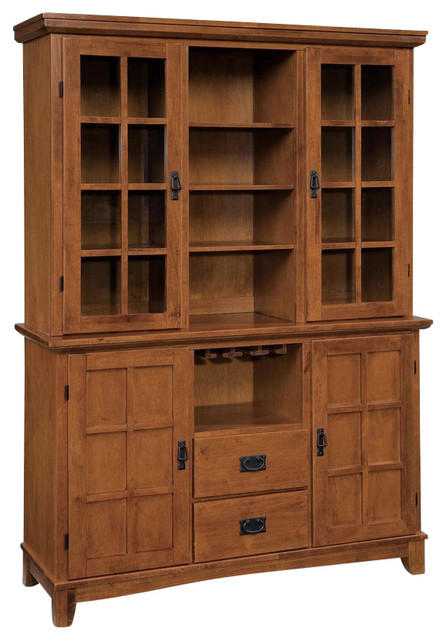Lachlan Arts And Crafts Buffet And Hutch, Cottage Oak.