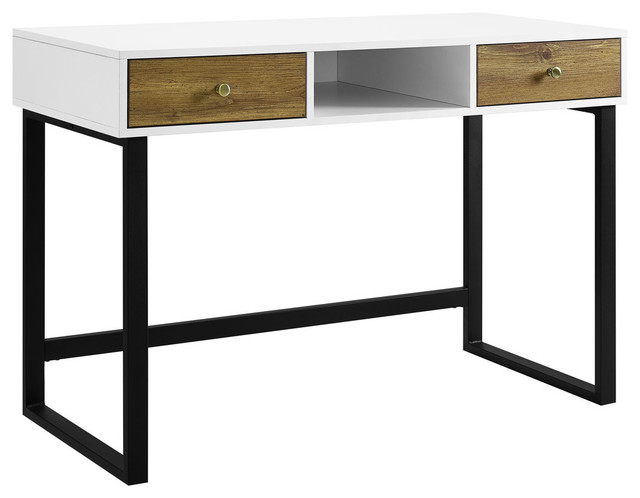 "We Furniture 44"" Modern 2-Tone Desk With Drawers, White/barnwood."