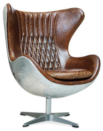 Harmon Egg Chair, Milk Chocolate Leather