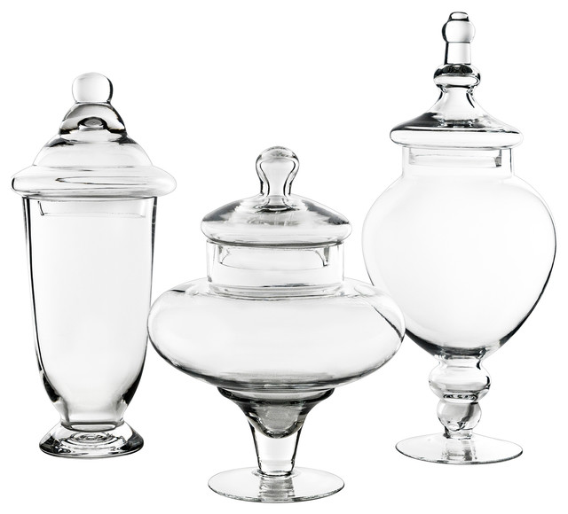 3-Piece Glass Apothecary Candy Buffet Jar Set