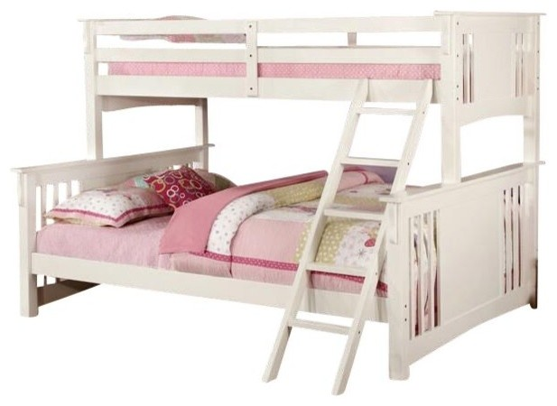 Marlie Bunk Bed, White, Extra Long Twin Over Queen.