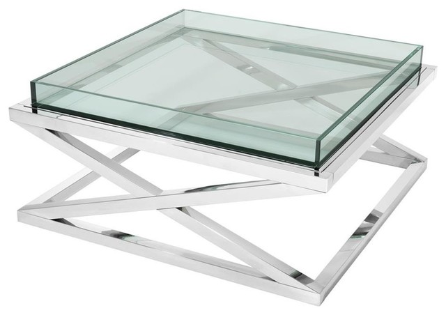 Crossed Leg Glass Coffee Table Eichholtz Curtis Contemporary
