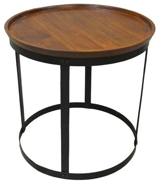 Park City Accent Table,  Chestnut And Black.
