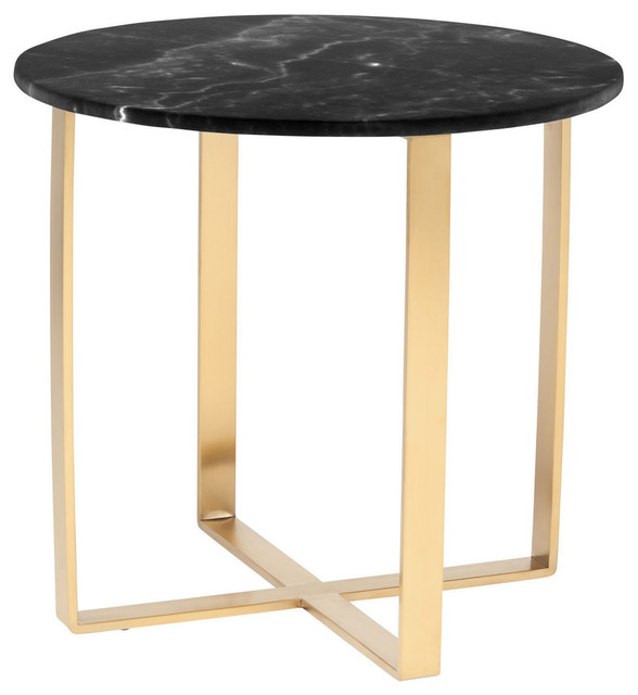 Rosa Side Table, Brushed Gold Stainless Steel And Black Contemporary Side  Tables