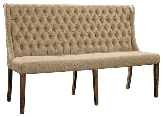 Montegue Tufted Linen Banquette. -2