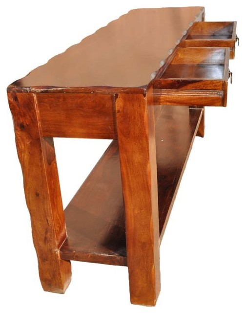 Appalachian Rustic Solid Wood Hall Console Table With Drawers