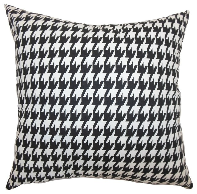 """Ceres Houndstooth Pillow Black White 18""""x18""""."""