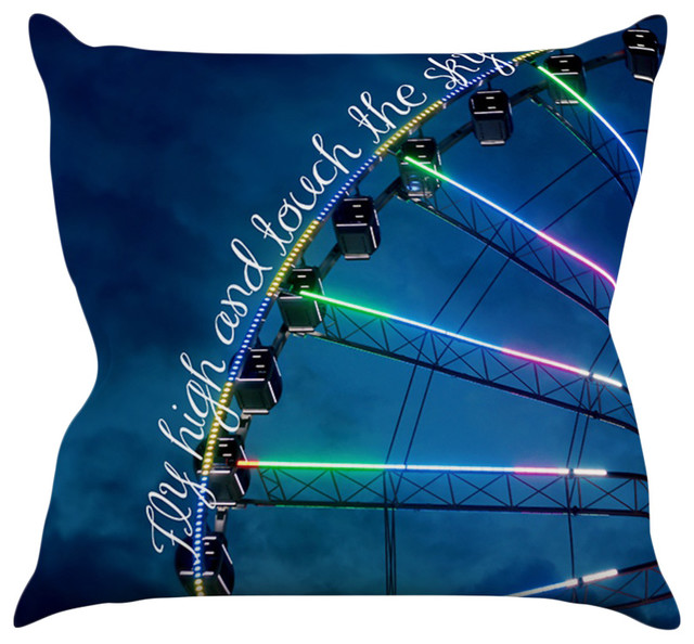 """Beth Engel """"Fly High and Touch the Sky"""" Navy Blue Throw Pillow"""