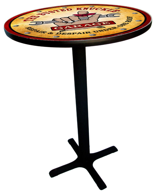 Busted Knuckle Garage Pub Table With Vintage Logo Top