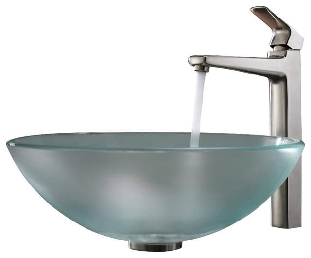 shop houzz kraus usa inc kraus frosted glass sink virtus faucet bathroom sinks. Black Bedroom Furniture Sets. Home Design Ideas