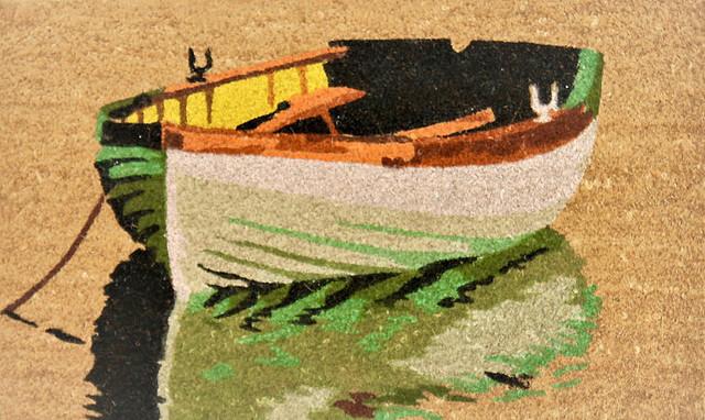"Unbelievable Mats 100% Coir Print Mat With Vinyl Backing, 18""x30"", Boat."