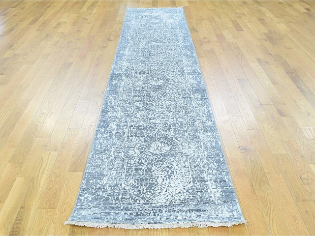 Hand Knotted Persian Design Runner Wool And Silk Oriental