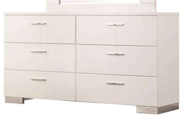 Coaster Felicity 6-Drawer Dresser, High Gloss White