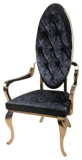 Victoria Fabric Arm Chair Rose Gold Frame Black