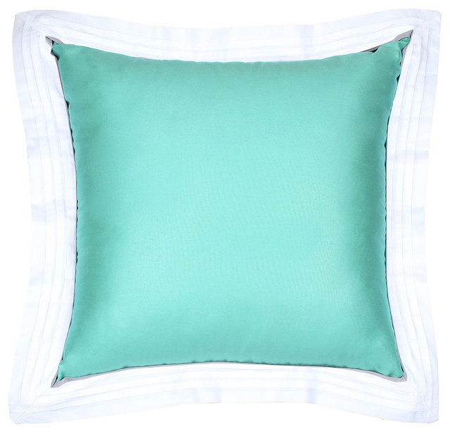 Powder Blue Decorative Pillows : Sateen Powder Blue Flange Pillow Cover - Decorative Pillows - by LaCozi