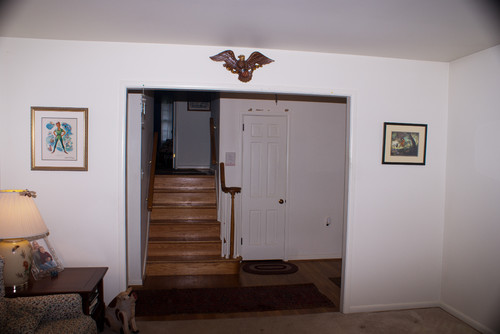 Opening the staircase in a 1950 39 s split level for Bi level basement ideas
