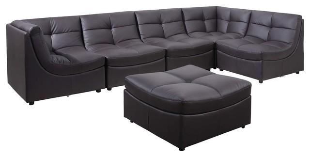 Super Cloud Modular Sectional And Ottoman 6 Piece Set Brown Machost Co Dining Chair Design Ideas Machostcouk