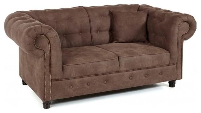 canap fixe 2 places oxford chesterfield marron vintage victorien canap 2 places par inside75. Black Bedroom Furniture Sets. Home Design Ideas