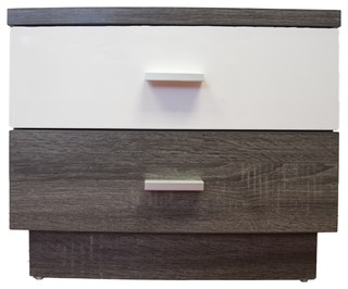 MB9303 Smart Home Distressed Gray and Glossy White 2 Drawer Nightstand