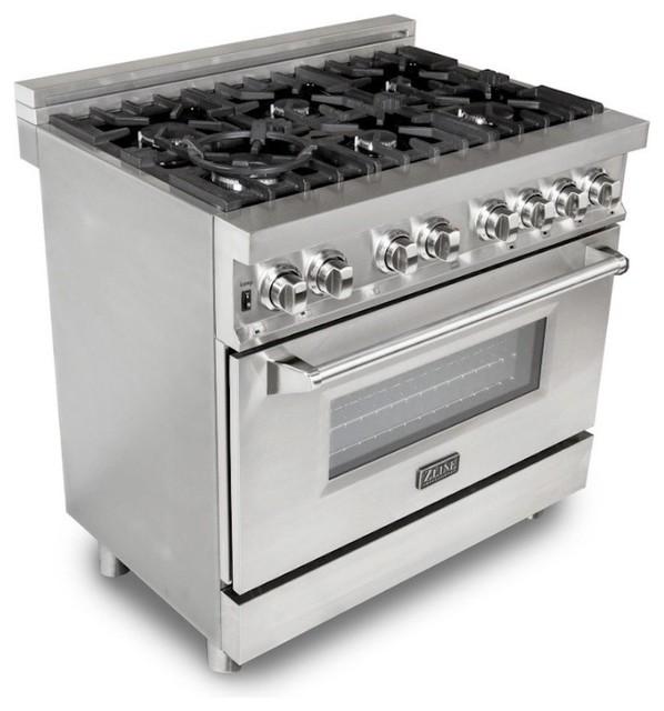 "ZLINE Professional Dual Fuel Oven Range, Stainless Steel, 36"""