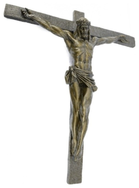 Crucifixion cross of jesus christ wall sculpture hot cast - Exterior church crosses for sale ...