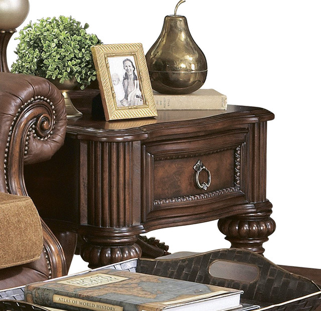 Homelegance Prenzo 26 Inch End Table With Drawers In Brown