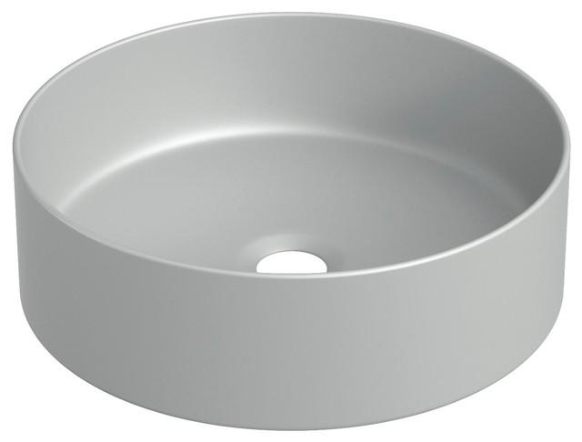 Cylindrical Ceramic Vessel Bathroom Sink, Grey, 35 cm