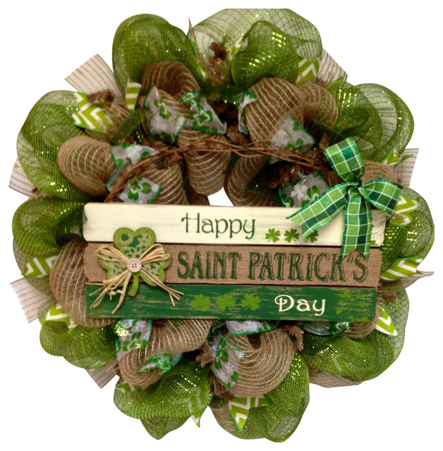 Happy St Patrick&x27;s Day Handmade Deco Mesh Wreath With Button Shamrock.