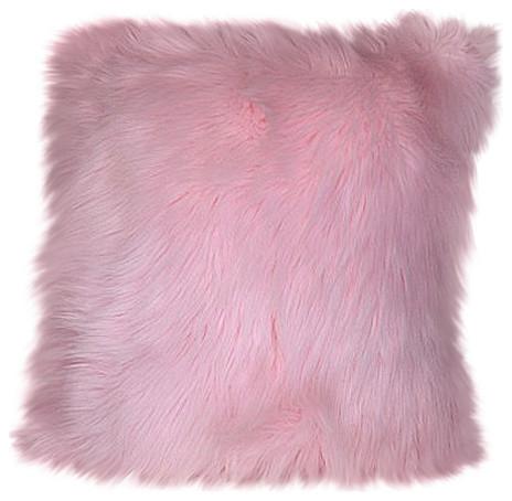 Pink Faux Fur Sheepskin Pillow, Handmade In Usa, 19x19.