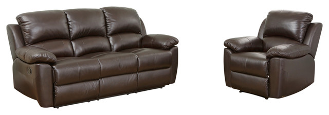 Excellent Abbyson Living Toscana 2 Piece Leather Sofa And Recliner Set Brown Gmtry Best Dining Table And Chair Ideas Images Gmtryco
