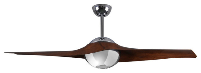 Palo Alto Ceiling Fan With Led Light Kit, Polished Chrome With Walnut Blades.