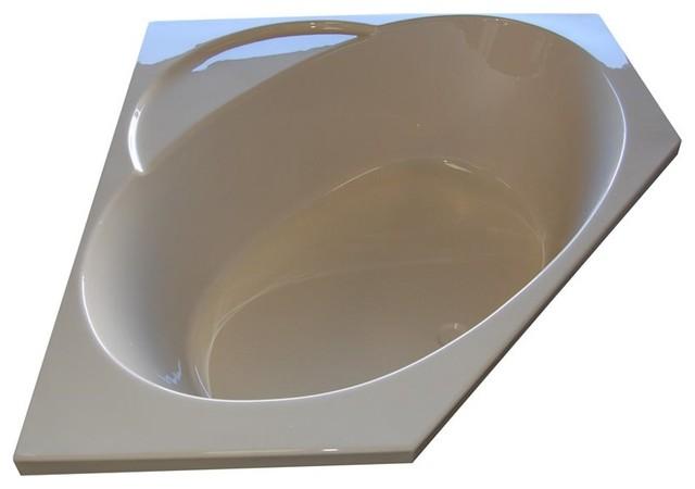 American Acrylic And Injection Corner Combination Tub, Bone.