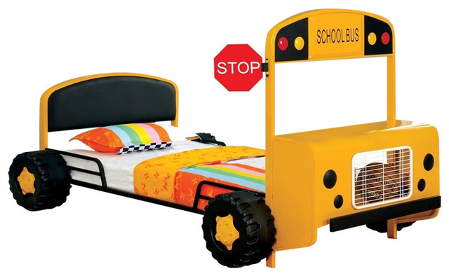 Cathie Youth Kids Twin Twin Bunk Bed Fun 3D School Bus ... |School Bus Bed