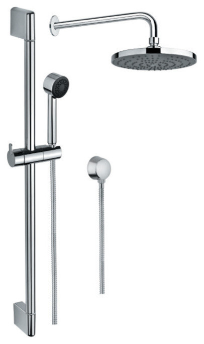 Chrome Shower System With Hand Shower And Sliding Rail Shower And Water Connec Contemporary Showerheads And Body Sprays By Thebathoutlet