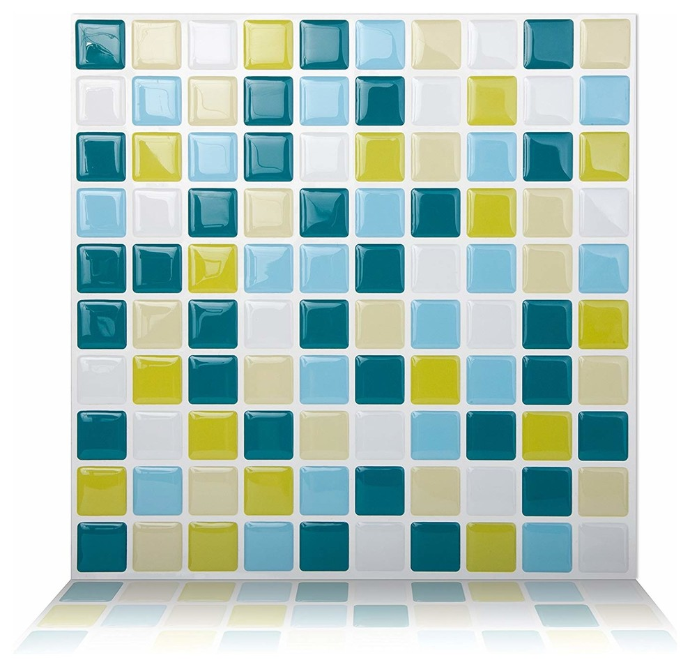 - Mosaic Peel And Stick Wall Tile, 10 Pack - Contemporary - Mosaic