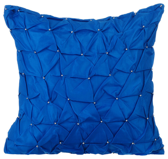 Textured Knotted Pintucks 16 X16 Taffeta Pillows Cover Royal Blue Texture
