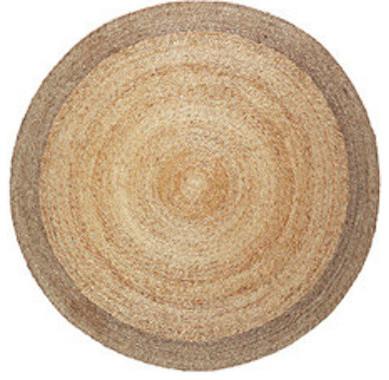 Hand Woven Modern Rustic Round Hemp Rug Fairtrade Pewter Border Natural 5