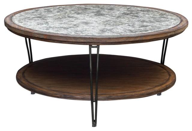 Pleasant Rustic Industrial Wood Metal Coffee Table Round Shelf Gray Cottage Machost Co Dining Chair Design Ideas Machostcouk