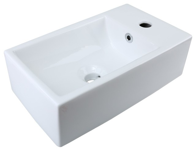 Small White Vessel Sink Vitreous China Rectangle Scratch And Stain Resistant Contemporary