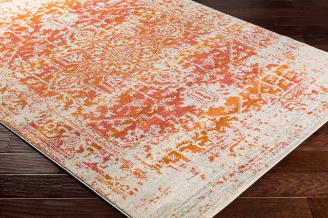 "Harput Traditional Burnt Orange, Light Gray Area Rug, 9&x27;3""x12&x27;6""."