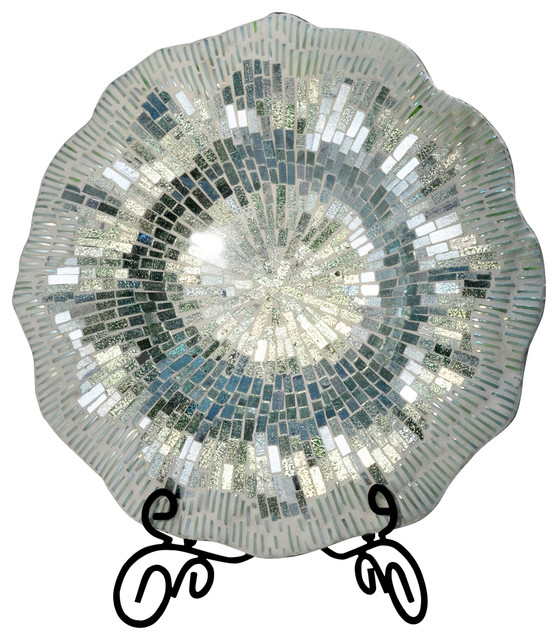Mosaic Charger Plate With Stand Silver And Blue Modern