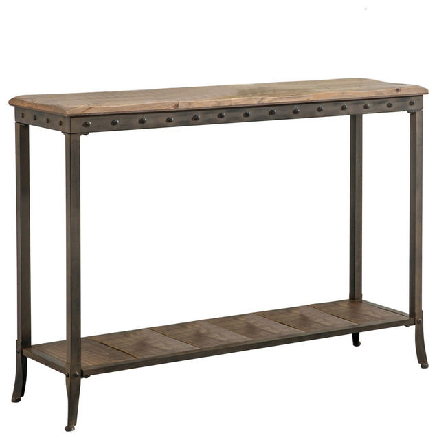 Console Table In Distressed Pine With Metal Base.