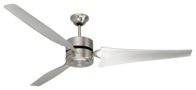 "60"" Heat Fan Ceiling Fan, Brushed Steel."