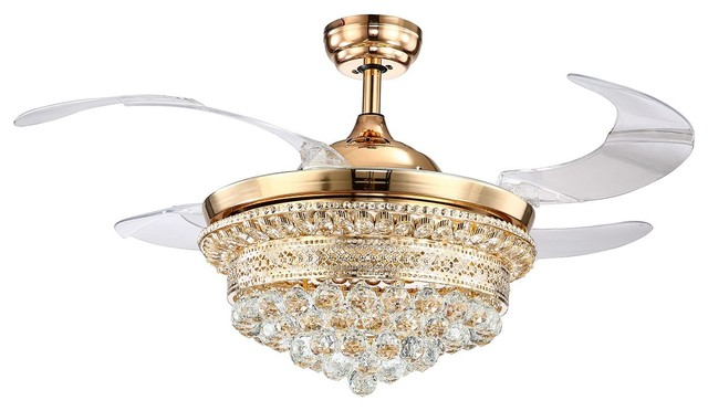 Crystal Led Ceiling Fan With Foldable Blades Gold