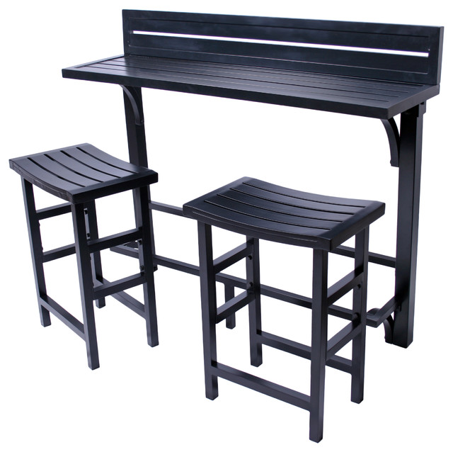 Balcony Bar 3-Piece Set Onyx  sc 1 st  Houzz & Balcony Bar 3-Piece Set - Contemporary - Outdoor Pub And Bistro ...