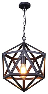 Industrial Iron Cage Pendant, Matte Black, Small