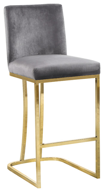 Heidi Velvet Counter Stool, Gray