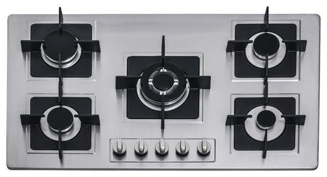 36 Inch Stainless Steel Built In Kitchen 5 Burner Stove Gas Hob Cooktop  Cooker Contemporary